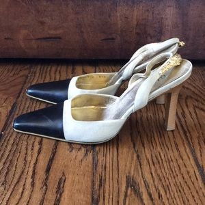 Gucci Gold Tiger Black and Tan Cap Toe Heels Shoes